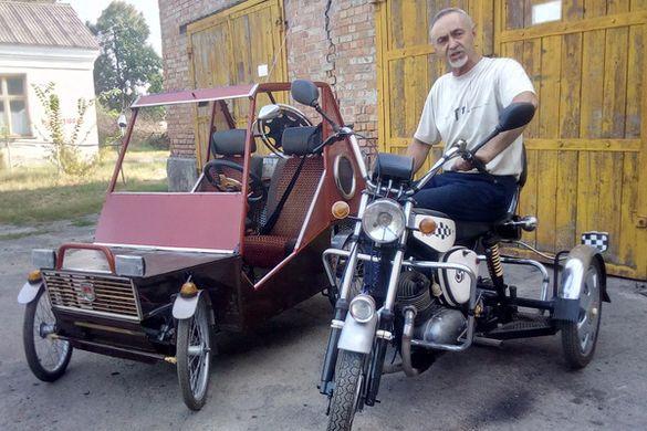 Черкащанин створив міні-автівку для внука зі старого моторолера (ФОТО)