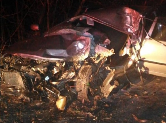 Гора металобрухту: на Черкащині автівка на швидкості влетіла у дерево (ФОТО)