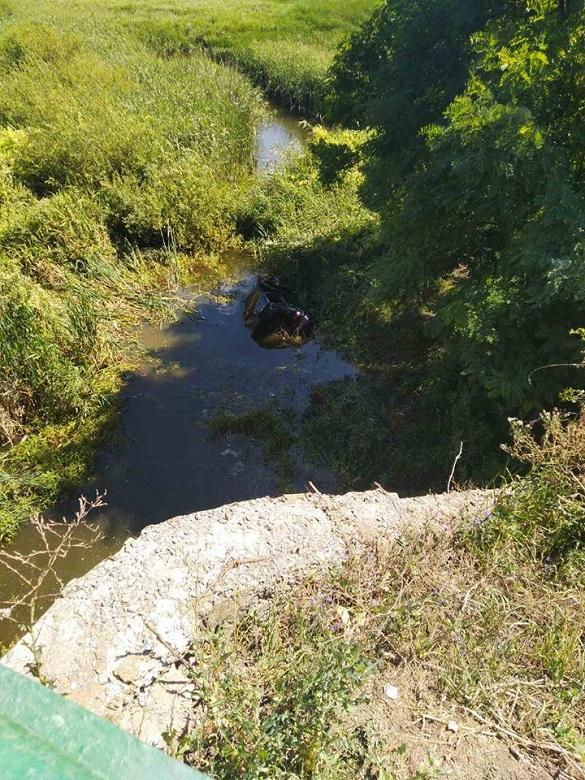 На Черкащині автомобіль із водієм упав у річку (ФОТО)